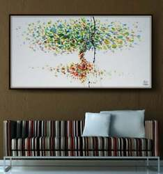 Tree 55 Original Oil Painting On Canvas Luxury Thick Layers By Koby Feldmos