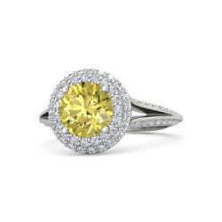 Real 3.00 Ct Gemstone Yellow Sapphire Ring Solid 14k White Gold Ring Size 6.5 8