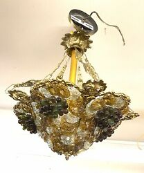 Vintage Bohemian Glass Chandelier With Grapes