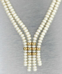 Lovely Ladies Estate 4.75mm Button Pearl 14k Yellow Gold Double Strand Necklace