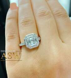 Huge 14k White Solid Gold Asscher Cut Forever One Moissanite And Natural Round C