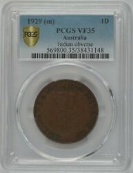 1929-m Australia 1andcent - George V Indian Obverse - Pcgs Vf35