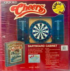 Hard To Find New Sealed - Cheers 1999 Tv Show Dart Board W/darts And Wood Cabinet