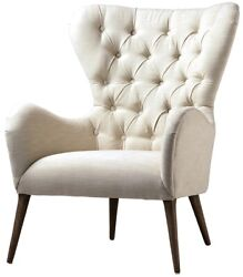 31 W Ambra Chair Button Tufted White High Back Solid Oak Wood Traditional