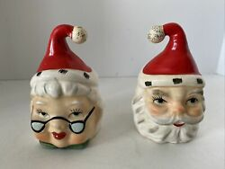 Vintage Lefton Reversible Mr. And Mrs. Santa Clause Salt And Pepper Shakers