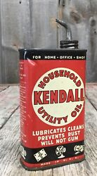 Early Vintage 1/2 Pint Kendall Household Utiliy Oil Oiler Tin Can Advertising