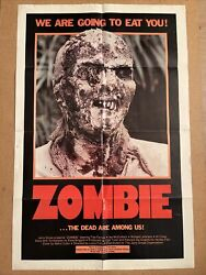 Zombie - One Sheet Poster - Us Style-not A Uk Quad Poster, O/s Lucio Fulci 1980