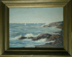 Signed Mary Porter Bigelow American Oil Painting On Board Seascape Nautical