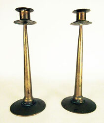 Pair 2 Arts And Crafts Antique Brass Candle Sticks 10 1/4 Heavy