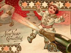 C 1910 Signed Tuck Cute Boy Shoots Champagne Cannon New Year Holiday Postcard