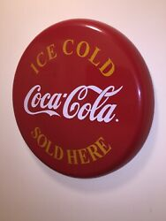 """1968-1973 24"""" Ice Cold Coca Cola Sold Here Button Sign Authentic Excellent Cond"""