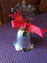 White Brass 2007 Christmas Bell Snowflake Ornament/table Decoration 4 Tall