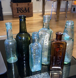 Antique Glass Bottle Job Lot 6 Items Apothecary Mineral Water Condiment Poison