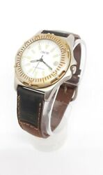 Mens Cherokee Quartz Analog Watch 36mm Date Indicator Leather Band New Battery