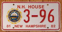 1982 New Hampshire Nh House License Plate Tag '3-96', Nos, Antique Vintage