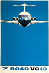 Original Vintage Poster Boac Vc10 Vickers British Overseas Airline Travel Linen