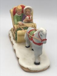Vintage 1987 Geo Lefton Christmas Colonial Village One Horse Open Sleigh 06460