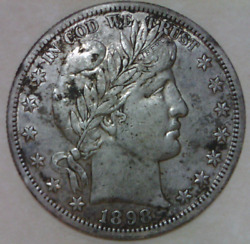 1898 S Barber Half Dollar Extremely Fine Details San Francisco Liberty Head Coin