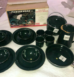 New Vintage Pioneerware Forest Green Cookware 16pc Porcelained Enamelware Camp