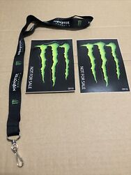 Monster Energy Drink Black Promo Lanyard 2 Promo Stickers New Official