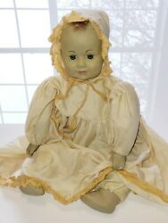 Reproduction Antique Vintage Doll w Matching Bonnet Gown amp; Bloomers