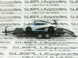 Tarmac Works 164 Loose Track Day White Koenigsegg Agera Rs W/car Trailer