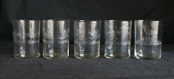 5 Rare Antique Optic Glass Liquor Shot Glasses Etched Roosters Cock Fighting