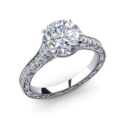 Solid 950 Platinum Ring Round 0.85 Ct Real Diamond Engagement Rings Size 6 7 8 9