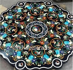 48 Inches Royal Marble Dining Table Top Inlay With Gemstones Restaurant Table