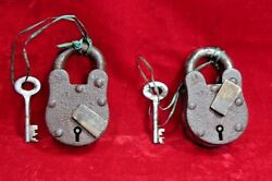 2 Pc Iron Brass Lock And Key Old Antique Vintage Rare Collectible Bd-5