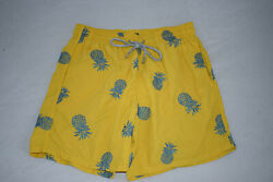 Vilebrequin Pineapple Mistral Print Yellow Swimming Shorts Trunks Mens Large L