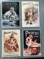 """4 Vintage Reproduction Pears Soap Advertising Post Cards 6""""x4"""" Postcards"""