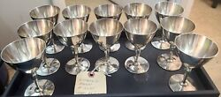 Co. Makers Faneuil 925 Sterling Silver Wine Cup Cordial Goblet Set Of 12