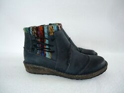 Aetrex Women's 40 Us 9 9.5 Tessa Sweater Ankle Boots Blue Leather
