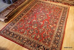 On Sale Antique Sarouk Rug 9and039x13and039 Circa 1930and039s Handmade Authentic Red Rug