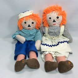 Raggedy Anne And Andy Stuffed Dolls Vintage No Tags Cloth Bodies Damaged
