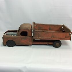Structo Toys Red Dump Truck Pressed Metal Rust As Is For Restore Or Parts