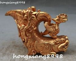 Old Chinese 100 Gold Gilt Dragon Pixiu Beast Brave Troopsphoenix Bird Cup Cups