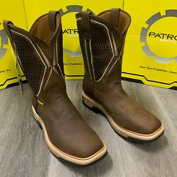 Menand039s Square Steel And Soft Toe Work Boots Cowboy Brown Genuine Leather Oil Resist
