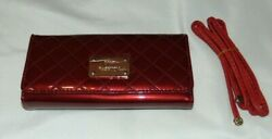 NWT Womens BE LEATHER Red PATENT Tri Fold CLUTCH Wallet Purse w Strap $11.50