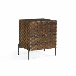 20 W Nightstand Intricately Carved Solid Mango Wood 2 Drawers Modern Iron Base