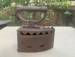 Antique Iron Hand Forged Wood Handle Burning Coal Heating Clothes Hot Iron Press