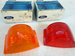 Vintage Ford D2tz-15464-b, A Amber And Red Lens Lot Of 2 Clearance Marker Light