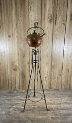 Antique Silver Plated Christopher Dresser Style Spirit Burner Stand With Kettle.