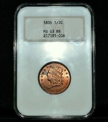 1835 Classic Head Half Cent ✪ Ngc Ms-63-rb ✪ 1/2c Red-brown Old Fatty ◢trusted◣