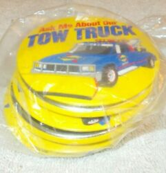 Sunoco 1996 Ask Me About Our Tow Truck Lot Of 6 Cashier Buttons Sealed Mint