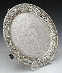 Engraved Lily Of The Valley Baltimore Repousse Sterling Salver Tray Jenkins 35oz