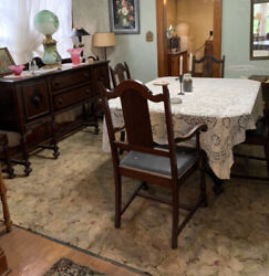 Antique Walnut Dining Room Set 6 Chairs, Table, Buffet And China Cabinet