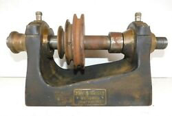 Antique Vtg 1800and039s Fay And Scott Lathe Metal Machine Machinist- Head Stock Brass