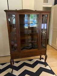 Queen Anne Style Glass China Cabinet -andnbsp